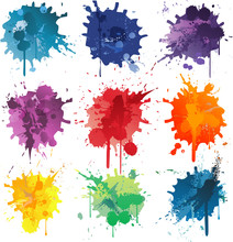 Colorful Abstract Vector Ink P...