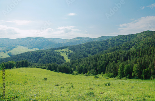 Tuinposter Groen blauw Beautiful summer alpine landscape with green wooded mountains