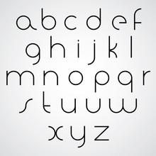 Elegant Regular Monochrome Orbed Font, Black Thin Letters On Whi