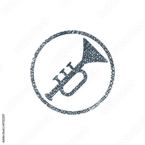 Fototapeta Vector icon of trumpet with hand drawn lines texture. obraz na płótnie