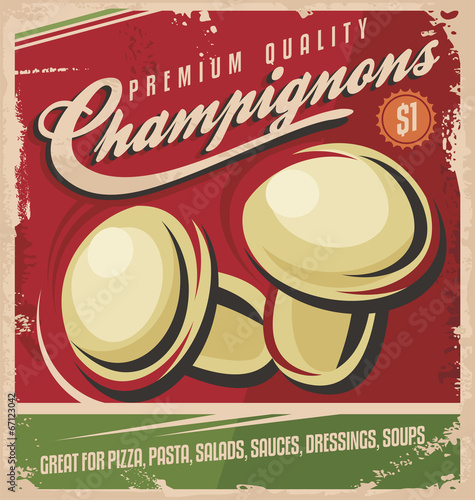 Vintage poster design for premium quality mushrooms