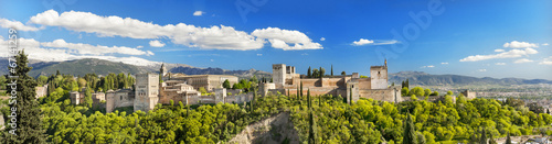 Panorama of the famous Alhambra palace in Granada, Spain. Canvas Print
