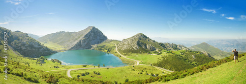 Photo Panorama of Lake Enol in Picos de Europa, Asturias, Spain