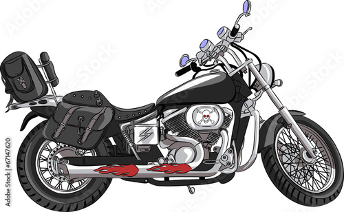 Poster Motocyclette vector motorcycle with travel bags