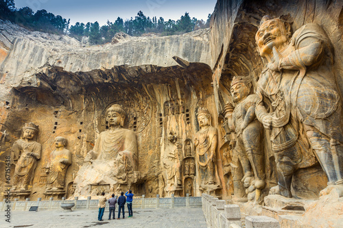 Autocollant pour porte Chine Longmen Grottoes with Buddha's figures
