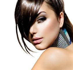 Fashion Beauty Girl. Stylish Fringe Haircut and Makeup
