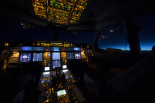 Cockpit Of Aircraft At Sunrise...