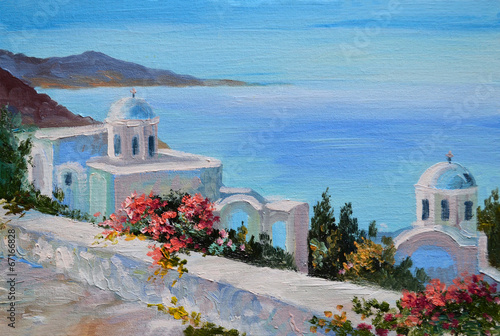 Fototapety, obrazy: oil painting - Santorini, house near the sea