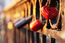 Lock In Heart Shape On The Bridge