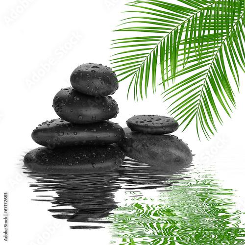 Naklejka na kafelki spa Background - black stones and bamboo on water
