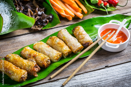 Fototapety, obrazy: Fried spring rolls surrounded by ingredients