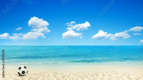 Foto op Canvas Strand beach background with football