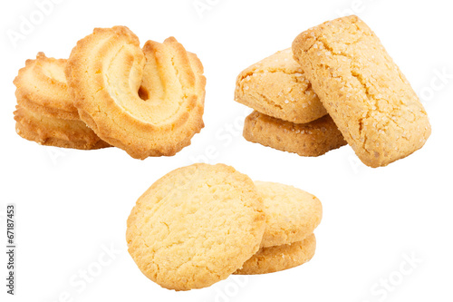 Foto auf Leinwand Kekse Set of butter cookies isolated on white background