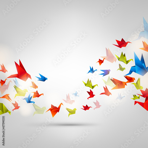 Photo  Origami paper bird on abstract background
