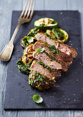 Photo  Grilled Pork with Salsa Verde and Zucchini
