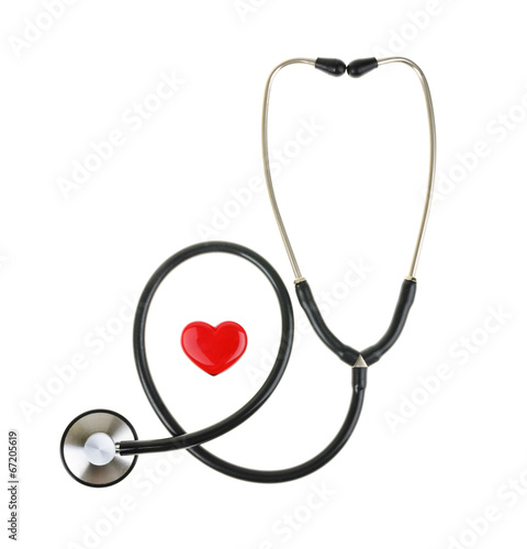 Fotografie, Obraz  Red heart and a stethoscope, isolated on white background