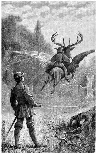 Photo  Winged Deer - Fantasy Engraving - Scène Fantastique