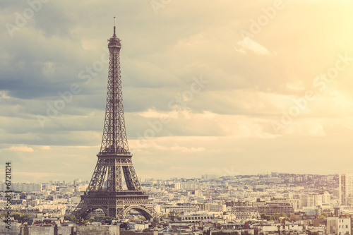 Photo sur Toile Paris Tour Eiffel in Paris