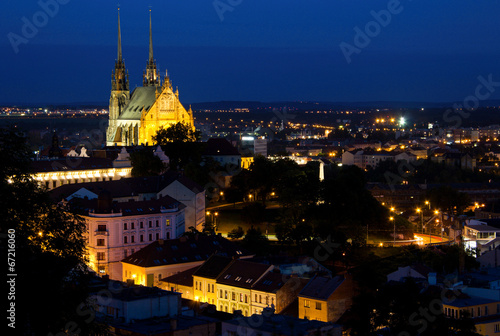 фотография  Illuminated St. Peter and Paul Cathedral at night, Brno