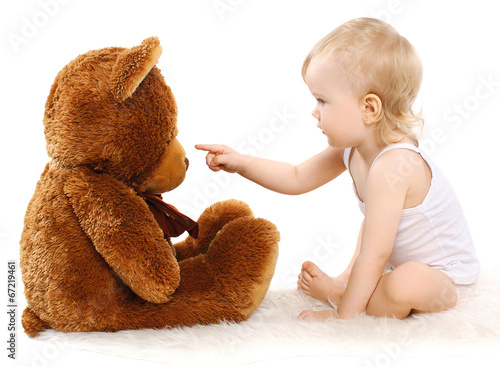 Baby and teddy bear toy