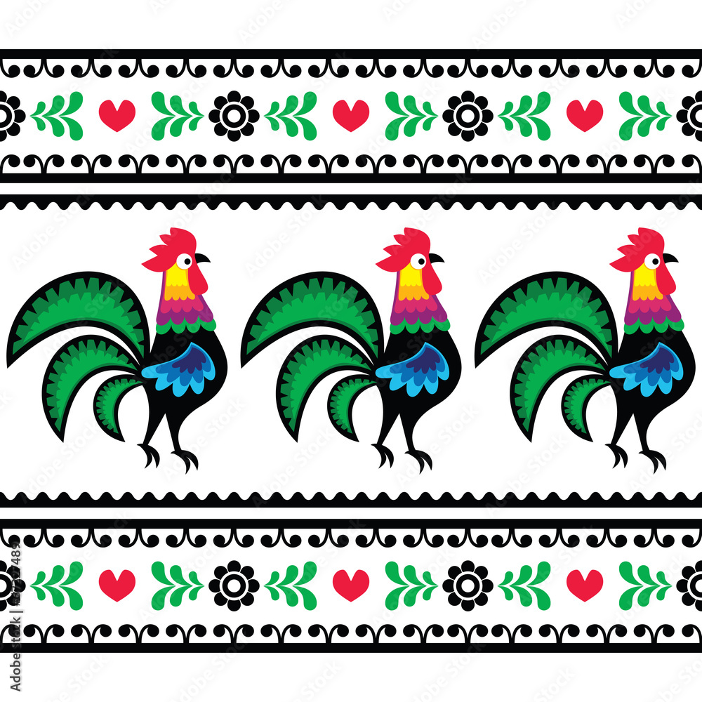 Seamless Polish folk art pattern with roosters - Wycinanka