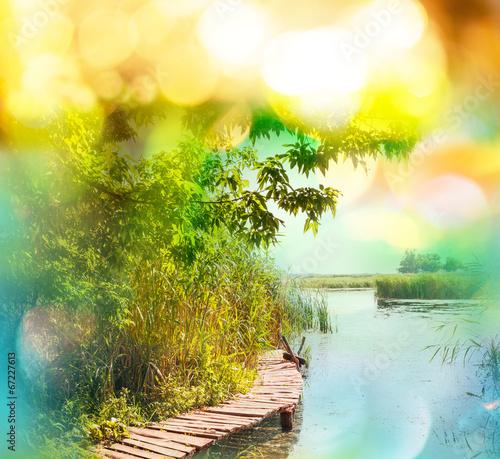 Foto op Aluminium Geel Summer lake