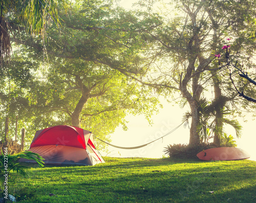 Photo Stands Camping Tent on grassland