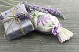 Fototapeta Lavender - lavender soap with fresh flowers
