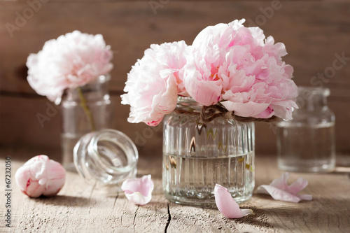 Fotografie, Obraz  beautiful pink peony flowers bouquet in vase