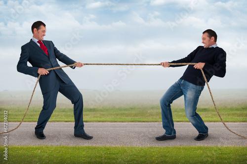 Fotografie, Obraz  Přetahování lanem mezi stejným mužem