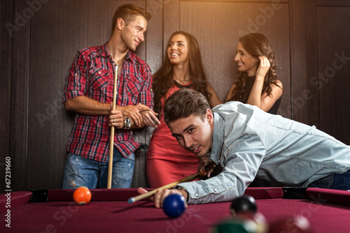 Fotografie, Tablou  Fun with friends during playing billiard