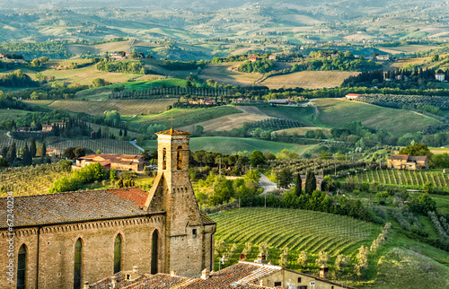 Obraz Widok z wieży San Gimignano - fototapety do salonu