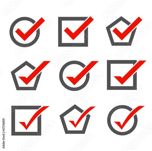 Fotografie, Obraz  Set of check mark icons