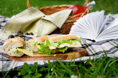 Tuinposter Picknick Picnic basket on grass