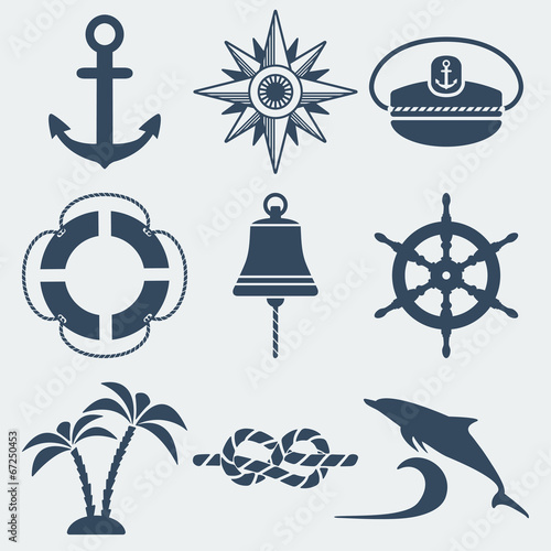 Fotografia  nautical marine icons set