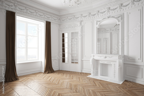 Fotografie, Obraz  Leerer Raum mit Stuck in einer alten Villa