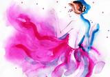 portret kobiety. streszczenie akwarela - 67255234