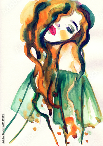 Tuinposter Aquarel Gezicht woman portrait .abstract watercolor