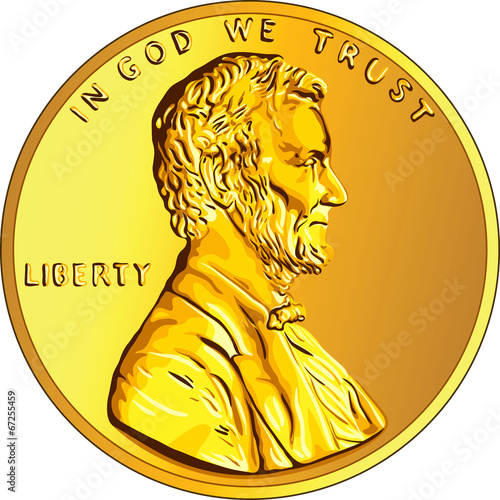 Fotografía  Vector American money gold coin one cent, penny