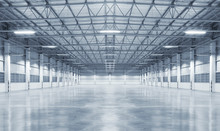 Concrete Floor Inside Industrial Building. Use As Large Factory, Warehouse, Storehouse, Hangar Or Plant. Modern Interior With Metal Wall And Steel Structure With Empty Space For Industry Background.