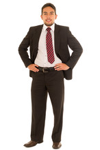 Latin Guy In A Suit With Red Tie