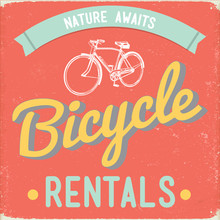 Retro Bike Rental Sign