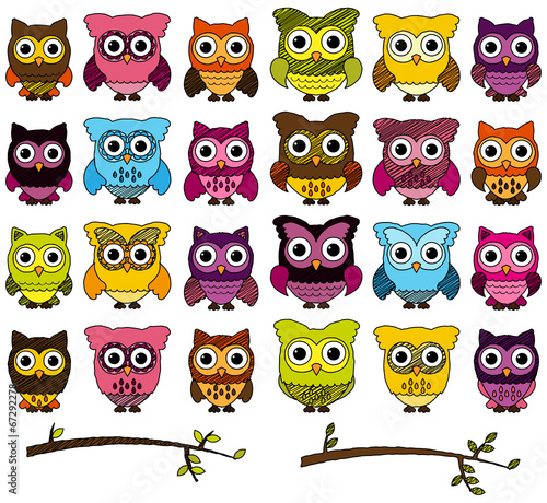 Canvas Prints Creatures Doodle Style Vector Set of Cute Owls and Branches
