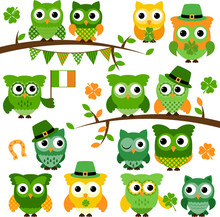 Large Vector Collection Of St Patrick's Day Themed Owls