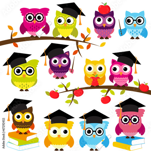 Photo Stands Owls cartoon Vector Collection of School or Graduation Themed Owls