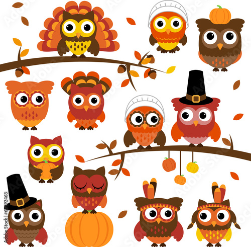 Fotografering  Thanksgiving and Autumn Themed Vector Owl Collection with Branch