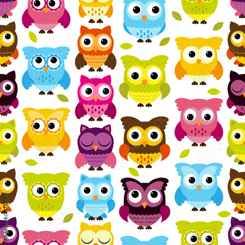 Canvas Prints Owls cartoon Seamless and Tileable Vector Owl Background Pattern