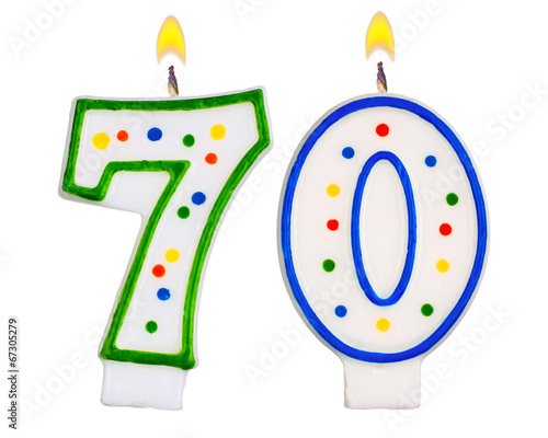 Photographie  Birthday candles number seventy isolated on white background