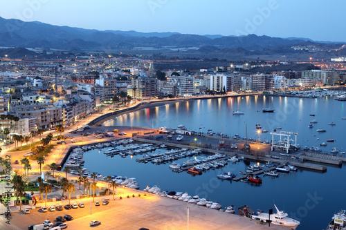 Mediterranean town Aguilas at night. Murcia, Spain