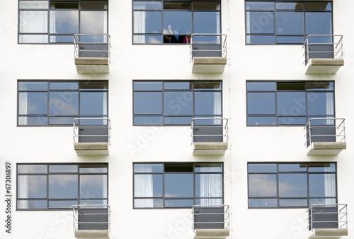 Photo  Facade with balconies. Bauhaus building in Dessau